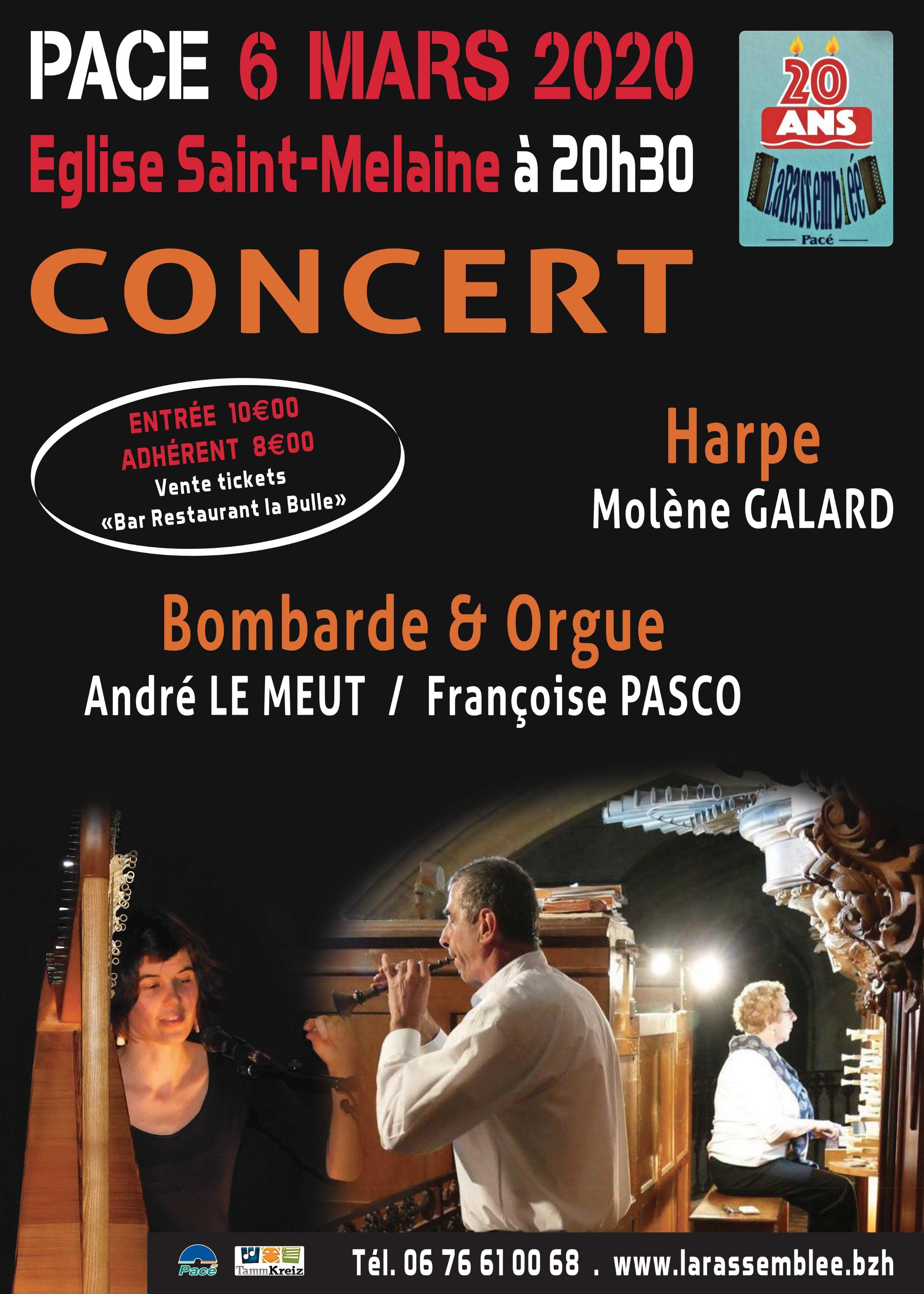 Concert Harpe - Orgue & Bombarde @ Place de l'Eglise Saint Melaine de Pacé